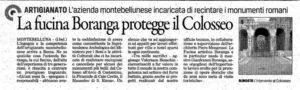 Un interessante articolo redatto da La Tribuna in merito al progetto di cui Fucina Artistica Boranga è stata protagonista nella creazione delle cancellate del Colosseo